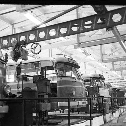 Autotransporta uzņēmums jaunās telpās. 1973. gada 13. marts