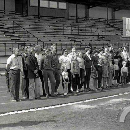 Ogres stadionā. 20. gs. 70. gadi