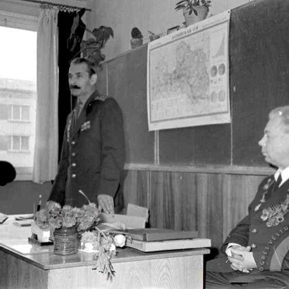 Skolēnu tikšanās ar 2.Pasaules kara veterāniem Jaunogres vidusskolā. 20. gs. 70. gadi