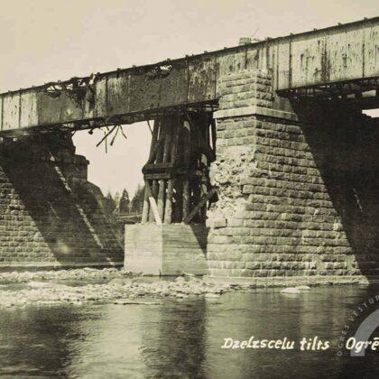 Dzelzceļa tilts pēc Pirmā pasaules kara postījumiem