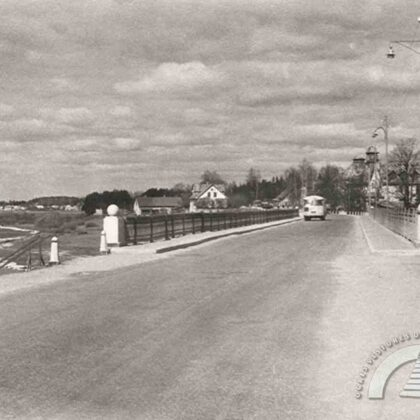 Jaunais Rīgas–Daugavpils šosejas tilts, skats no Pārogres, 20.gs. 60.gadi