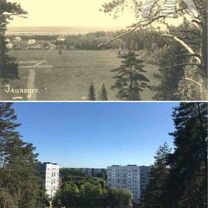 Jaunogres panorāma no Zilā kalna. 1928. un 2021. gads