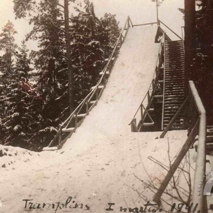 Tramplīns Ogres Zilajā kalnā. 1941. gads