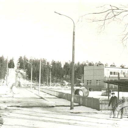 Skats uz vēl neapbūvētu Zilokalnu prospektu Ogrē. 20. gadsimta 70. gadi