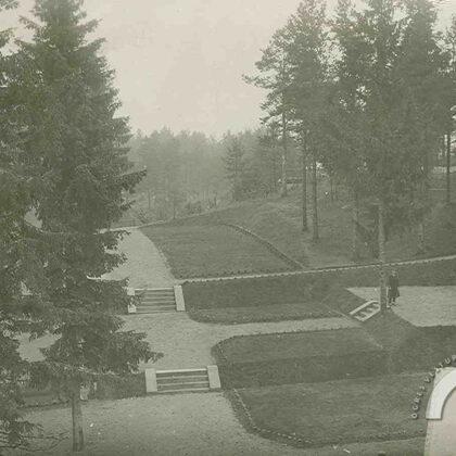 """Kazaku kalns. Sanatorijas """"Saulstari"""" terasveida parks. 1930. gads"""