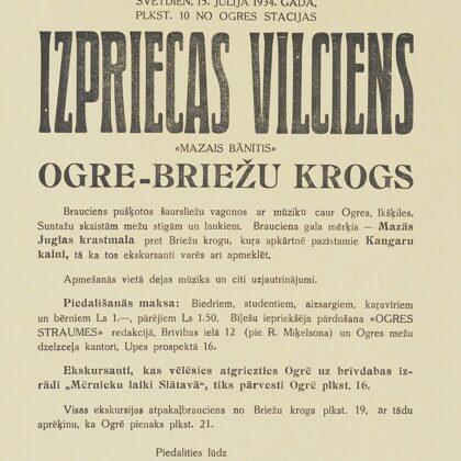 AFIŠA. MAZĀ BĀNĪŠA IZPRIECU BRAUCIENS. 1934. GADA 15. JŪLIJS